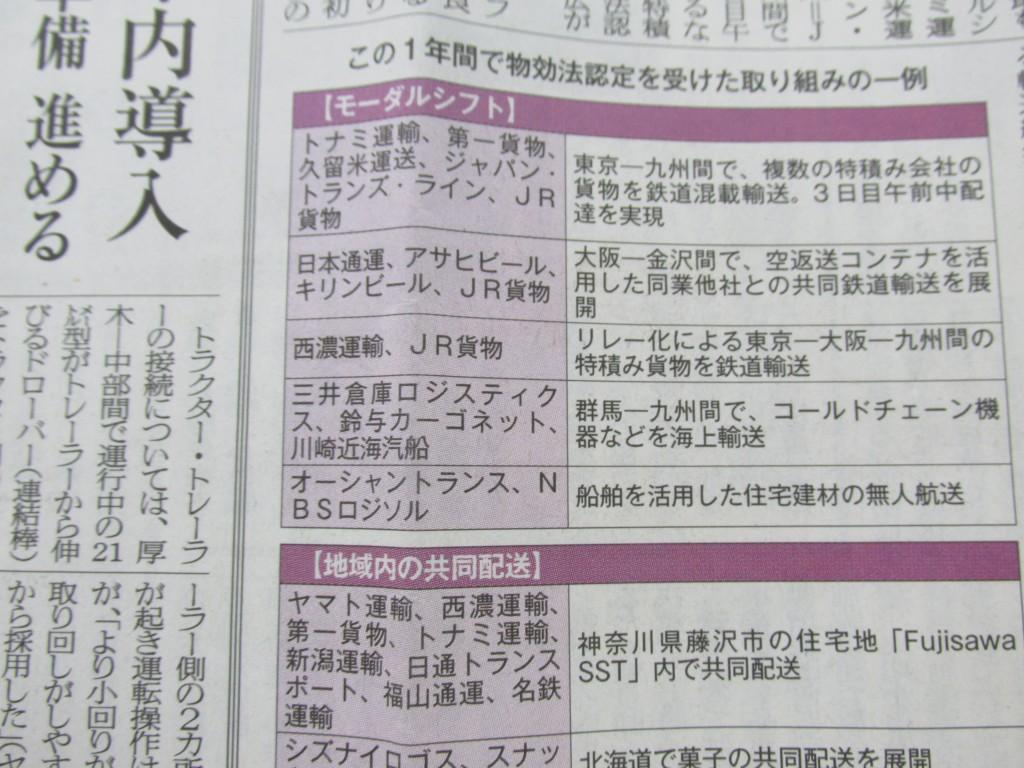 輸送経済新聞9月26日当社社名掲載一面